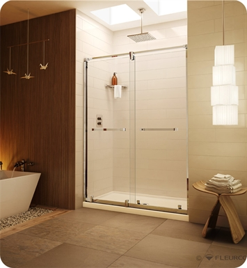 "Fleurco LX53  Luxe Axent In-Line Bypass Sliding Shower Doors - 53"" to 55"""