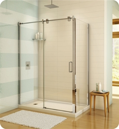 "Fleurco LGR60 Luxe Glide 57"" In-Line Sliding Shower Door and Fixed Panel with Return Panel"