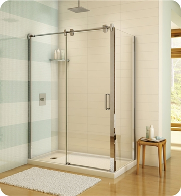 "Fleurco LGR6048-11-40  Luxe Glide 57"" In-Line Sliding Shower Door and Fixed Panel with Return Panel With Return Panel: 48"" Return Panel And Hardware Finish: Bright Chrome And Glass Type: Clear Glass"