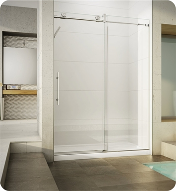 Fleurco KN57-35-40L-BY KN Kinetik In-Line 60 Sliding Shower Door and Fixed Panel With Hardware Finish: Brushed Stainless And Glass Type: Clear Glass And Door Direction: Left And Shower Door Handles: Curved And Towel Bar: Round Towel Bar - Brushed Finish