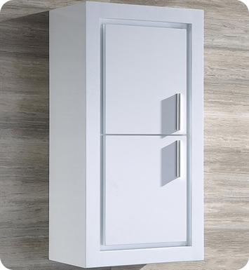Fresca FST8140WH White Bathroom Linen Side Cabinet with 2 Doors