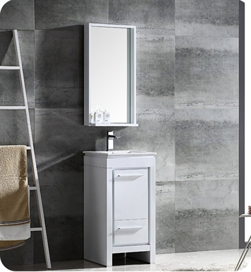 "Fresca FVN8118WH Allier 16"" Modern Bathroom Vanity with Mirror in Glossy White"