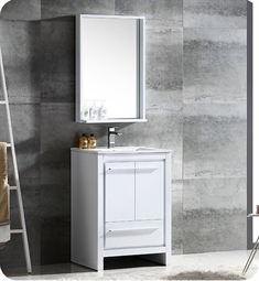 "Fresca FVN8125WH Allier 24"" Modern Bathroom Vanity with Mirror in Glossy White"