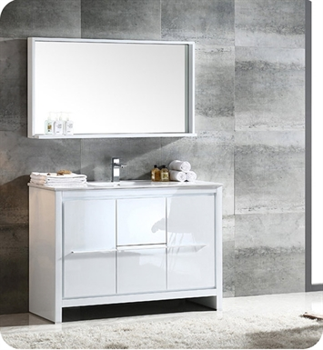 "Fresca FVN8148WH Allier 48"" Modern Bathroom Vanity with Mirror in Glossy White"
