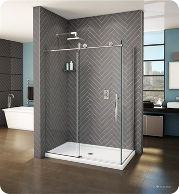 "Fleurco KNPR5742-35-40L-B KN Kinetik In-Line 60 Sliding Shower Door and Fixed Panel with Return Panel (Closes against return panel) With Return Panel: 42"" Return Panel And Hardware Finish: Brushed Stainless And Glass Type: Clear Glass And Door Direction: Left And Shower Door Handles: Curved"