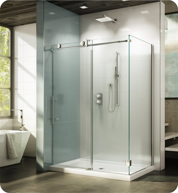 "Fleurco KNWR4548-35-40L-Y KN Kinetik In-Line 48 Sliding Shower Door and Fixed Panel with Return Panel and Flush-pull Handle (Closes against Wall) With Return Panel: 48"" Return Panel And Hardware Finish: Brushed Stainless And Glass Type: Clear Glass And Door Direction: Left And Shower Door Handles: Flush-Pull Handle And Towel Bar: Round Towel Bar - Brushed Finish"