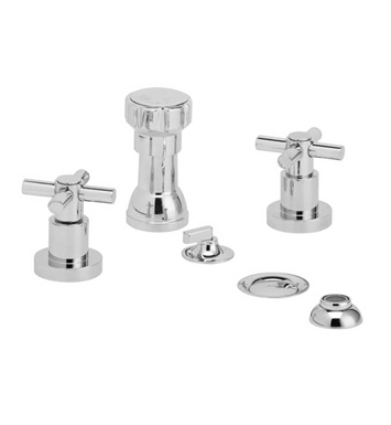 Phylrich D4134-080 Basic Four Hole Bidet Set With Finish: Satin Nickel with Polished Brass