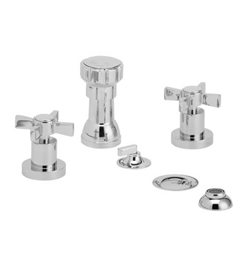Phylrich D4137-080 Basic Four Hole Bidet Set With Finish: Satin Nickel with Polished Brass