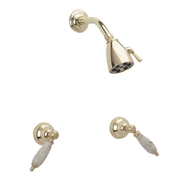 Phylrich K3158D-060 Carrara Shower Set With Finish: Polished Brass with Satin Nickel
