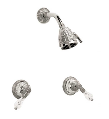 Phylrich K3180-079 Louis XIV Cut Crystal Shower Set With Finish: Satin Nickel with Satin Gold