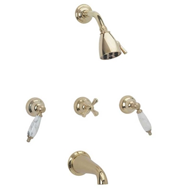 Phylrich K2158B-007 Carrara Three Handle Tub and Shower Set With Finish: Polished Brass Antiqued