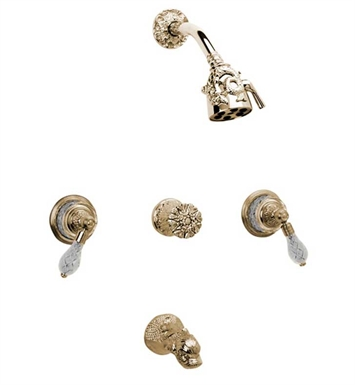 Phylrich K2184-OEB Dolphin Three Handle Tub and Shower Set With Finish: Old English Brass