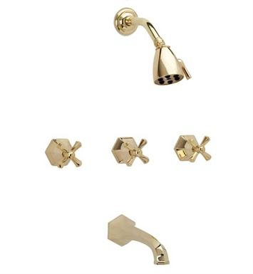 Phylrich K2171-093 Le Verre & La Crosse Three Handle Tub and Shower Set With Finish: Polished Gold with Polished Nickel
