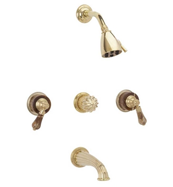 Phylrich K2271-091 Regent Three Handle Tub and Shower Set With Finish: Polished Brass with Polished Nickel