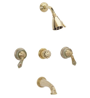 Phylrich K2270-080 Regent Three Handle Tub and Shower Set With Finish: Satin Nickel with Polished Brass