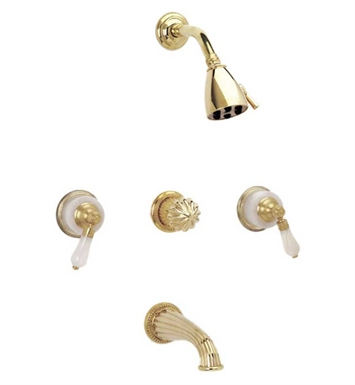 Phylrich K2273-084 Regent Three Handle Tub and Shower Set With Finish: Satin Gold with Satin Nickel