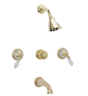 Phylrich K2181-24D Regent Cut Crystal Three Handle Tub and Shower Set With Finish: Satin Gold Antiqued