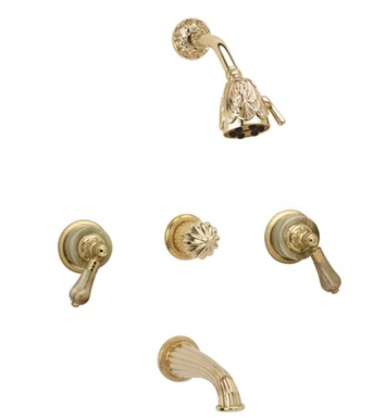 Phylrich K2240-007 Versailles Three Handle Tub and Shower Set With Finish: Polished Brass Antiqued