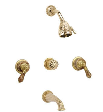 Phylrich K2241-OEB Versailles Three Handle Tub and Shower Set With Finish: Old English Brass