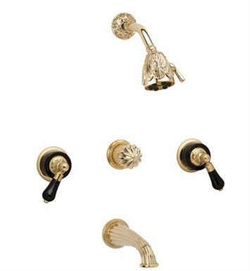Phylrich K2244-084 Versailles Three Handle Tub and Shower Set With Finish: Satin Gold with Satin Nickel