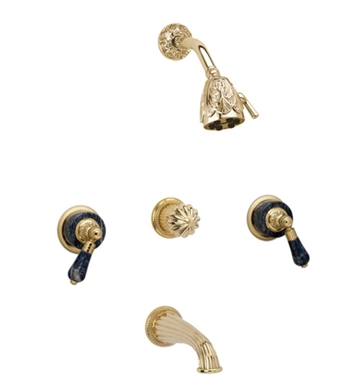 Phylrich K2242-OEB Versailles Three Handle Tub and Shower Set With Finish: Old English Brass