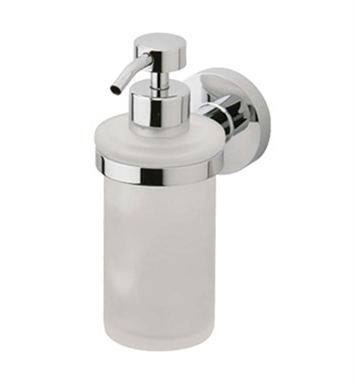 Phylrich DB25D-047 Basic Soap Dispenser in Polished Chrome with Frosted Glass With Finish: Antique Brass