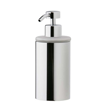 Phylrich DB20D-080 Basic Soap Dispenser in Polished Chrome with Frosted Glass With Finish: Satin Nickel with Polished Brass