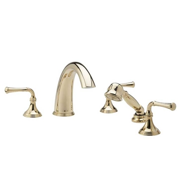 Phylrich D2205E1-085 3Ring Kitchen Deck Set with Hand Shower With Finish: Polished Gold with Satin Nickel