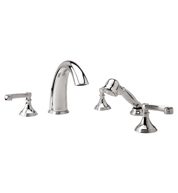 Phylrich D2206E1-084 3Ring Kitchen Deck Set with Hand Shower With Finish: Satin Gold with Satin Nickel