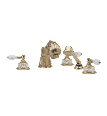 Phylrich K2184M1-24D Dolphin Kitchen Deck Set with Hand Shower With Finish: Satin Gold Antiqued