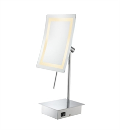 Aptations Minimalist Single-Sided LED Lighted Rectangular Free-Standing Mirror from the Kimball & Young Collection