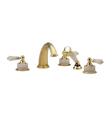 Phylrich K2273P1-065 Regent Kitchen Deck Set with Hand Shower With Finish: Satin Nickel with Polished Gold