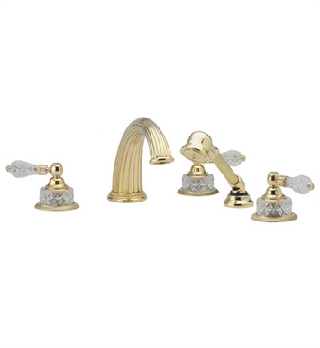Phylrich K2181P1-089 Regent Cut Crystal Kitchen Deck Set with Hand Shower With Finish: Polished Chrome with Polished Gold