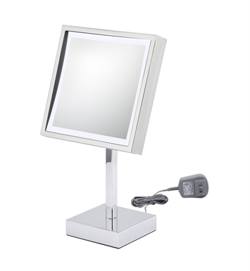 Aptations 71283 Single-Sided LED Lighted Free-Standing Square Mirror from the Kimball & Young Collection With Finish: Polished  Nickel