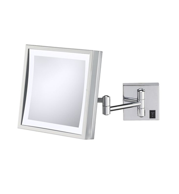 Aptations 91283HW Single-Sided LED Lighted Square Wall Mirror from the Kimball & Young Collection With Finish: Polished  Nickel And Wiring: Hardwired