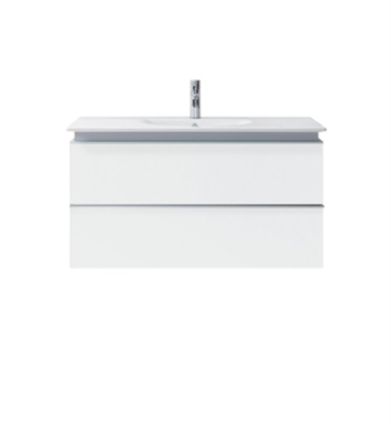 Duravit DN64722918 Darling New Wall-Mounted Modern Bathroom Vanity Unit With Body Finish: White Matt And Front Finish: Azur