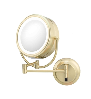 Aptations 925135 Kimball & Young Neo-Modern LED Lighted Double Sided Magnified Makeup Wall Mirror in Brushed Brass
