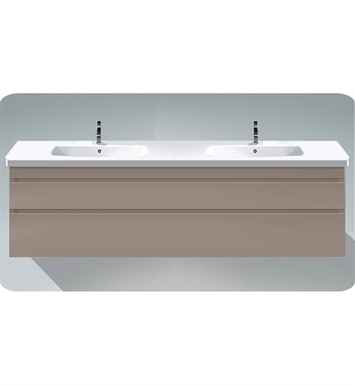 Duravit DS64985218 DuraStyle Wall Mounted Double Sink Modern Bathroom Vanity Unit With Body Finish: White Matt And Front Finish: European Oak
