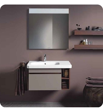 Duravit DS63944352 DuraStyle Wall Mounted Modern Bathroom Vanity Unit - Left Side Basin With Body Finish: European Oak And Front Finish: Basalt Matt