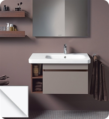 Duravit DS63961853 DuraStyle Wall Mounted Modern Bathroom Vanity Unit - Right Side Basin With Body Finish: Chestnut Dark And Front Finish: White Matt