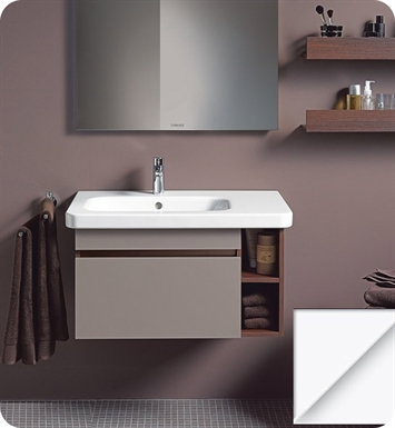 Duravit DS63975343 DuraStyle Wall Mounted Modern Bathroom Vanity Unit - Left Side Basin With Body Finish: Basalt Matt And Front Finish: Chestnut Dark