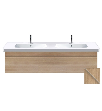 Duravit DS63864352 DuraStyle Wall Mounted Double Sink Modern Bathroom Vanity Unit With Body Finish: European Oak And Front Finish: Basalt Matt