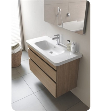 Duravit DS64834353 DuraStyle Wall Mounted Modern Bathroom Vanity Unit With Body Finish: Chestnut Dark And Front Finish: Basalt Matt