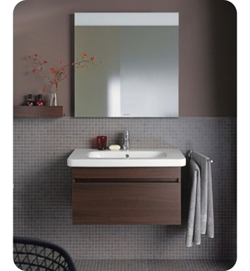 Duravit DS63871853 DuraStyle Wall Mounted Modern Bathroom Vanity Unit with Cut-out for Siphon and Siphon Cover With Body Finish: Chestnut Dark And Front Finish: White Matt