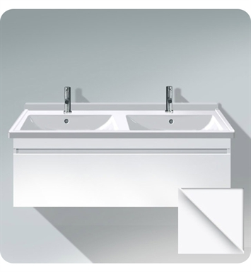 Duravit DS63901843 DuraStyle Wall Mounted Double Sink Modern Bathroom Vanity Unit with Cut-out for Siphon and Siphon Cover With Body Finish: Basalt Matt And Front Finish: White Matt