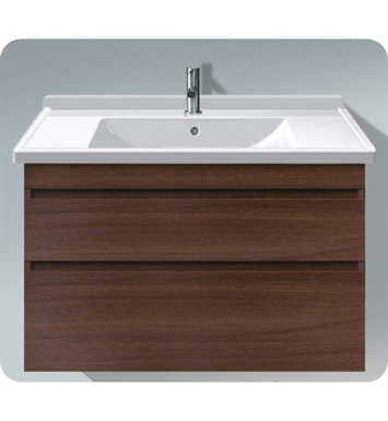 Duravit DS64891853 DuraStyle Wall Mounted Modern Bathroom Vanity Unit with Two Drawers With Body Finish: Chestnut Dark And Front Finish: White Matt