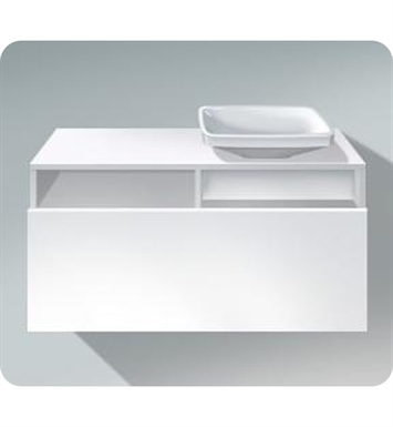 Duravit DS6784L1843 DuraStyle Wall Mounted Modern Bathroom Vanity Unit with Countertop and Cut-out With Body Finish: Basalt Matt And Front Finish: White Matt And Sink Position: Left Side Washbasin (sink not included)