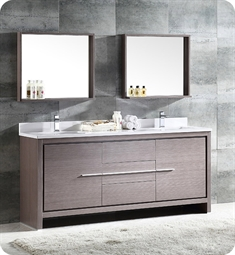 "Fresca FVN8172GO Allier 72"" Double Sink Modern Bathroom Vanity in Gray Oak"