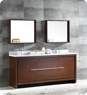 "Fresca FVN8172WG Allier 72"" Double Sink Modern Bathroom Vanity in Wenge"