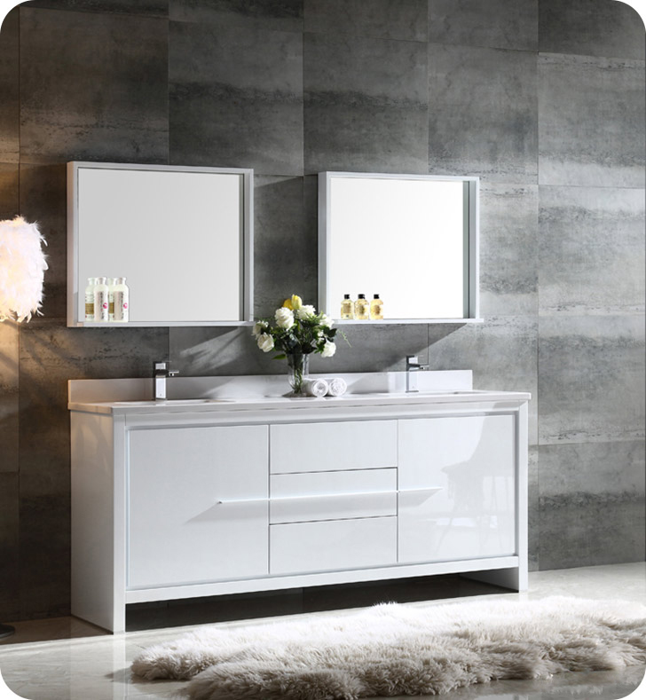 Fresca fvn8172wh allier 72 double sink modern bathroom vanity in white for Contemporary bathroom sinks and vanities